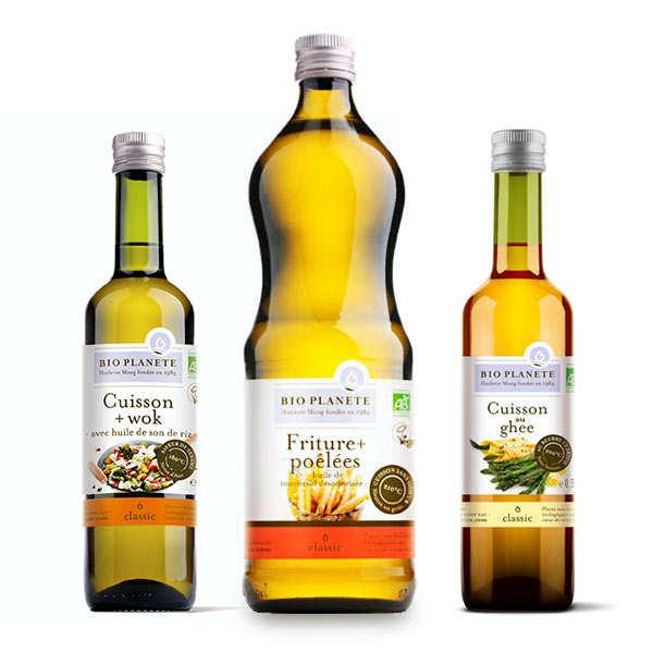 BioPlanète Assortiment de 3 huiles bio pour cuisson BioPlanète - 2 bouteilles de 50cl + 1 bouteille de 1L