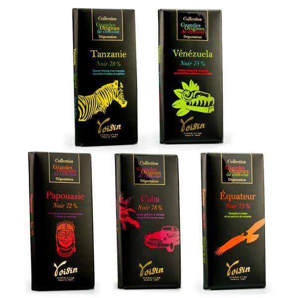 Voisin chocolatier torréfacteur Assortiment découverte tablettes de chocolat noir Voisin - 5 tablettes de 100g