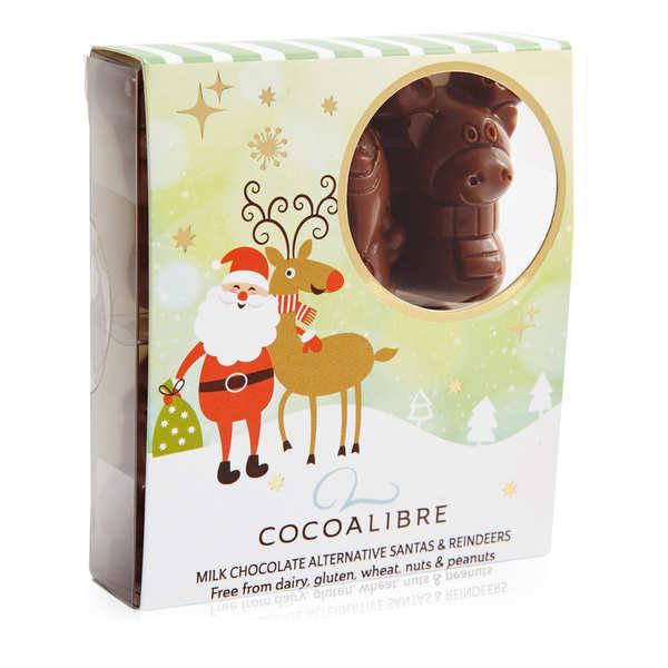 CocoaLibre Rennes de noël et Pères Noël au chocolat au lait sans gluten et sans lactose - 3 étuis de 60 g