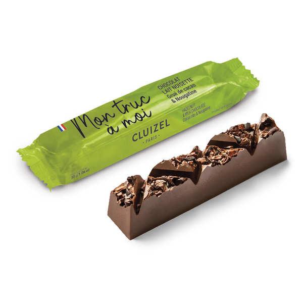 Michel Cluizel Barre chocolat lait 45%, grué de cacao, nougatine, pâte de noisette - Barre 30g