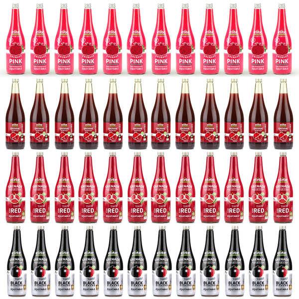 Elitegroup Assortiment premium des jus de grenade bio équitable Elite Naturel - 48 bouteilles de 1L