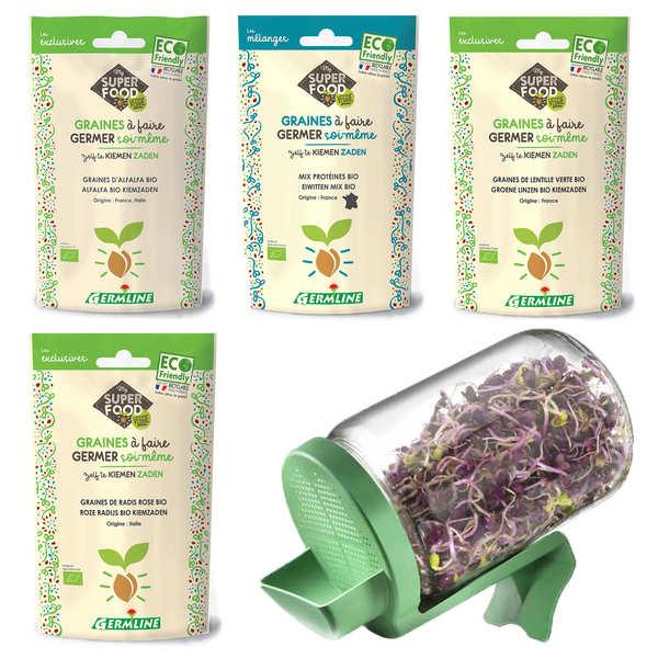Germline Kit débutant graines germées - Le germoir + 4 sachets de graines