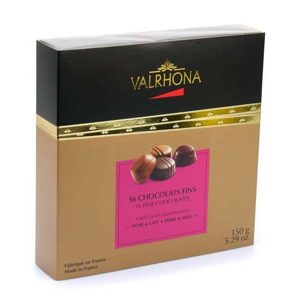 Valrhona Coffret chocolats fins noir et lait - Valrhona - Coffret 150g - 16 chocolats