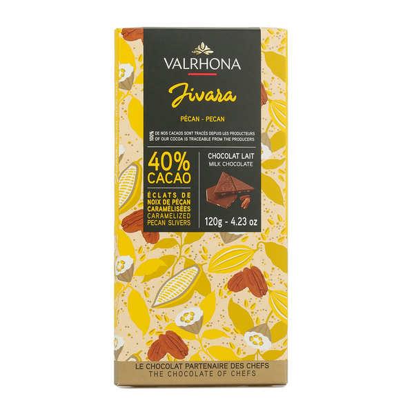 Valrhona Tablette de chocolat au lait Jivara 40% et noix de pécan - Valrhona - Tablette 85g