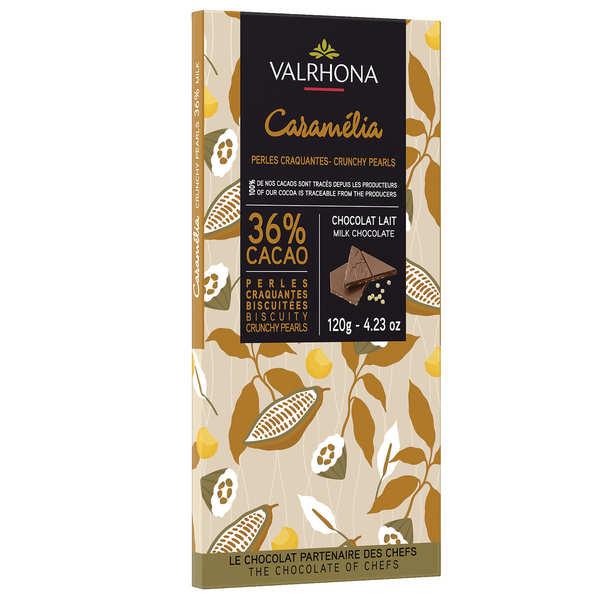 Valrhona Tablette de chocolat au lait Caramélia 36% et perles craquantes - Valrhona - Tablette 85g