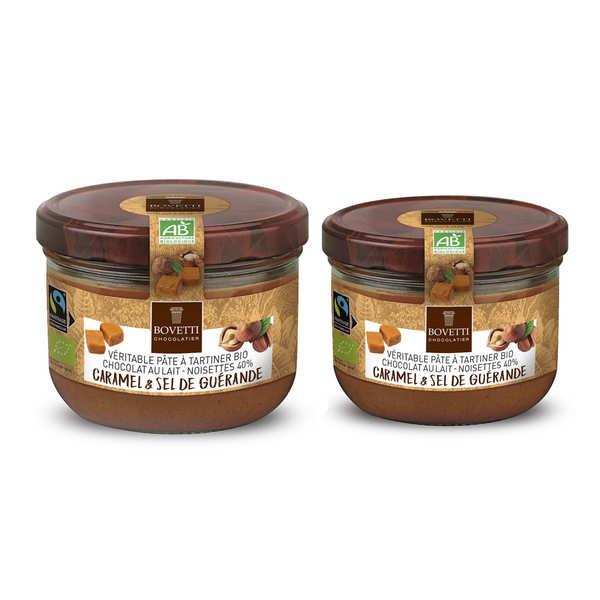 Bovetti chocolats Véritable pâte à tartiner chocolat au lait caramel sans huile de palme bio - Pot 200g