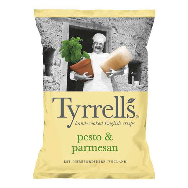 Tyrrells Chips de pommes de terre au pesto et parmesan - Sachet 150g