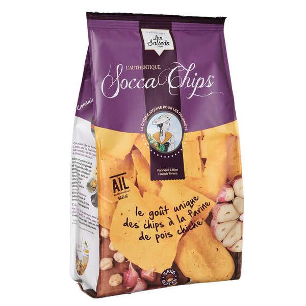 Socca Chips® - Chips de pois chiche à l'ail - 3 sachets de 120g