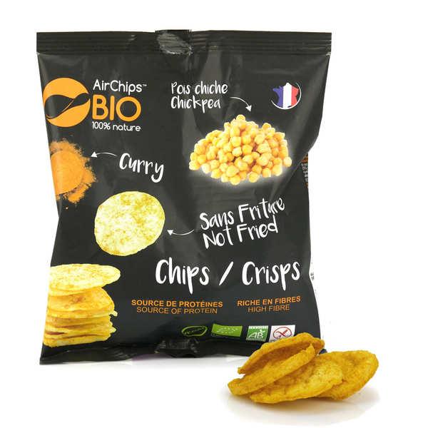 Airchips™ Bio Chips de pois chiche au curry sans friture bio et vegan - Carton de 12 sacs de 30 g