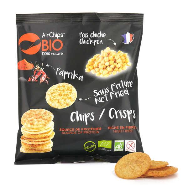 Airchips™ Bio Chips de pois chiche au paprika sans friture bio et vegan - Carton de 12 sacs de 30 g