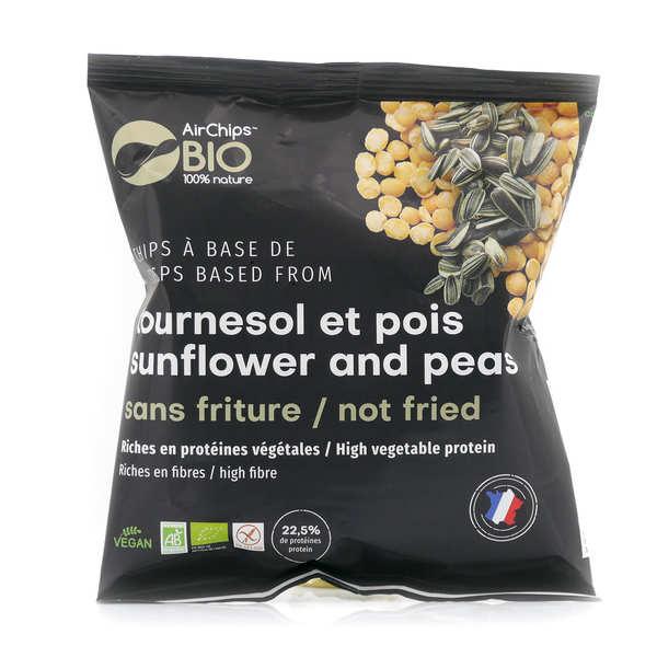 Airchips™ Bio Chips bio et vegan Tournesol et Pois - Riches en protéines, sans friture - Carton de 12 sacs de 30 g