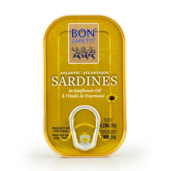Bon Appetit Sardines à l'huile de tournesol du Portugal - 24 boîtes de 120g