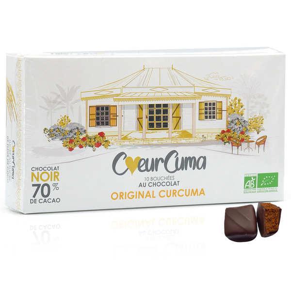 CoeurCuma bio Bouchées au chocolat noir et curcuma bio - Coffret 100g - 10 bouchées