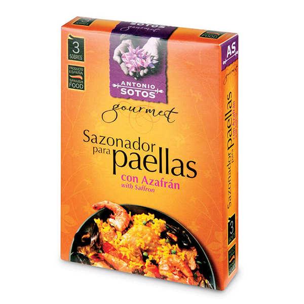 Antonio Sotos Mélange d'épices naturelles pour paëlla avec Safran - 3 boites de 3 sachets de 3g