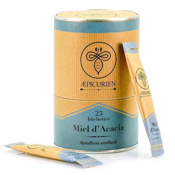Aepicurien Miel d'acacia en bûchettes - Boîte de 25 bûchettes de 8g