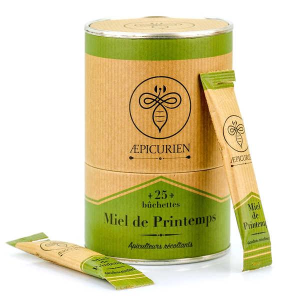 Aepicurien Miel de printemps en bûchettes - Boîte de 25 bûchettes de 8g