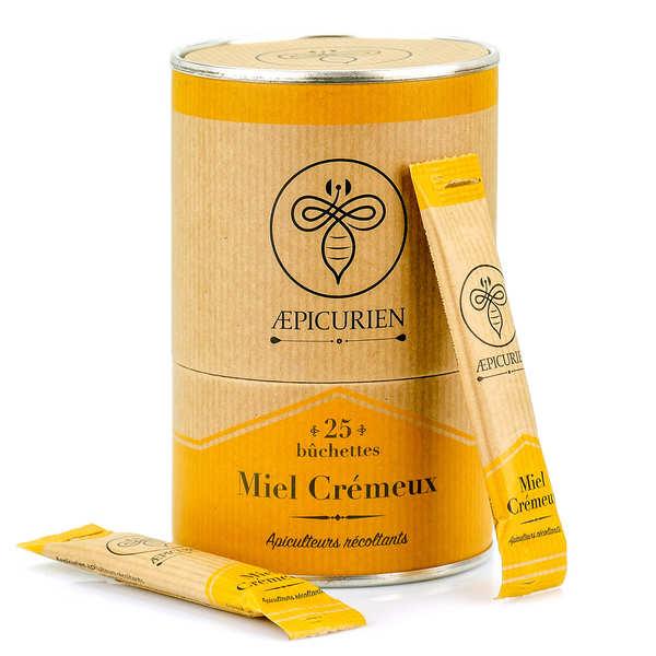 Aepicurien Miel crémeux en bûchettes - Boîte de 25 bûchettes de 8g
