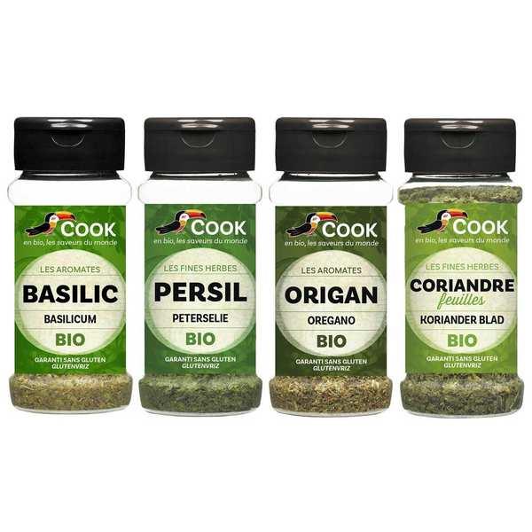 Cook - Herbier de France Assortiment d'herbes aromatiques incontournables bio Cook - 4 pots d'épices