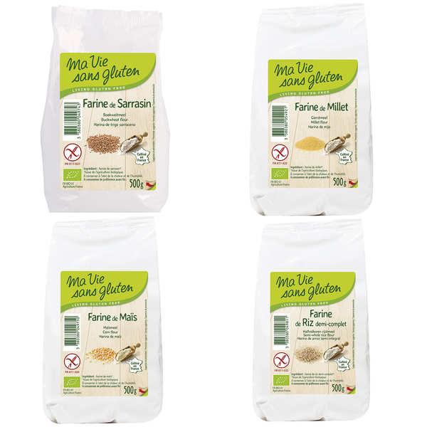 Ma vie sans gluten Assortiment de 4 farines sans gluten bio - 4 sachets de 500g