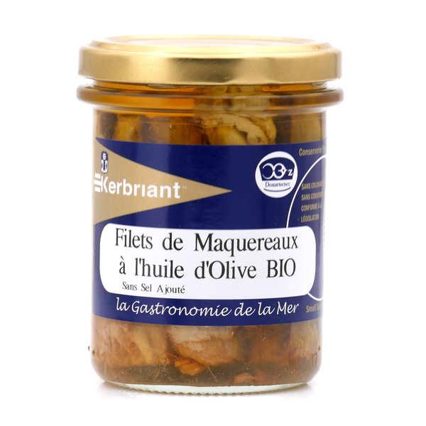 Kerbriant Filets de maquereaux à l'huile d'olive bio - sans sel ajouté - 3 bocaux de 200g