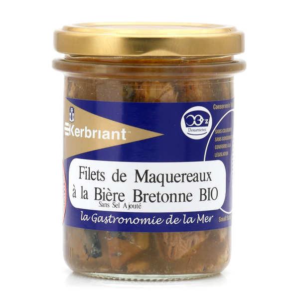 Kerbriant Filets de maquereaux à la bière bretonne bio - sans sel ajouté - 3 bocaux de 200g