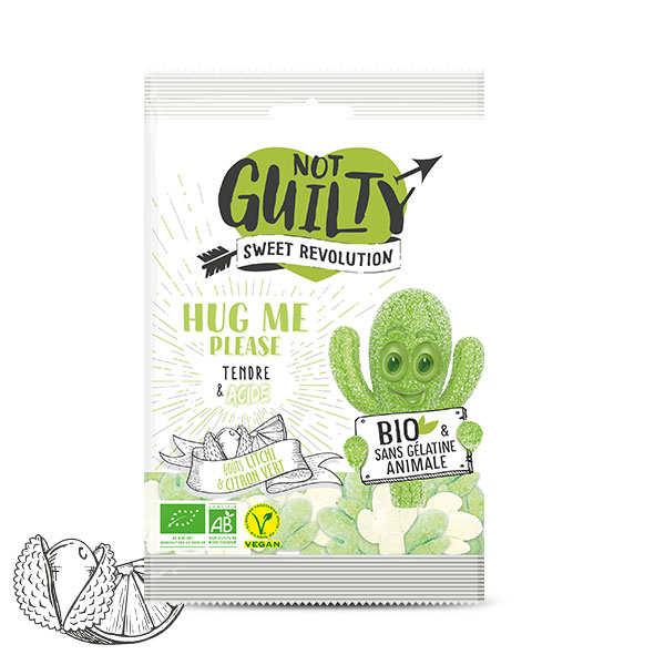 Not Guilty Bonbons piquants Litchi et citron vert bio, sans gélatine animale & vegan - Hug Me Please - Lot de 5 sachets 100g