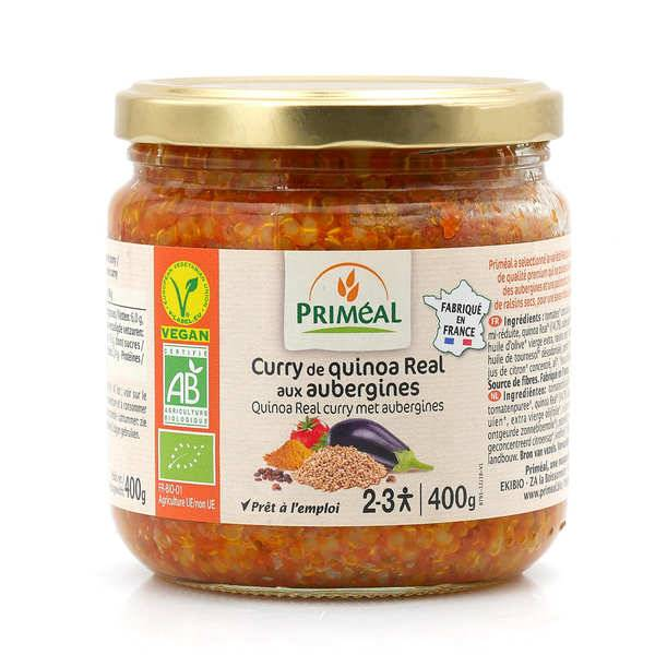 Priméal Curry de quinoa Real aux aubergines bio - Bocal 400g