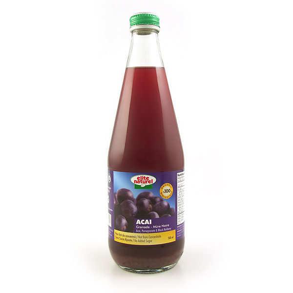 Elitegroup Pur jus d'açaï grenade mûre noire bio - Lot 3 bouteilles 70cl