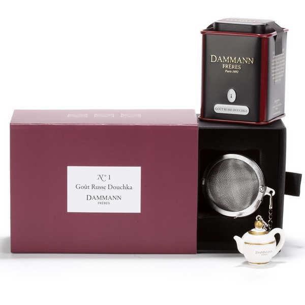 Dammann frères Coffret thé collection invitation n°1 - 1 boîte de thé goût russe Douchka et 1 infuseur