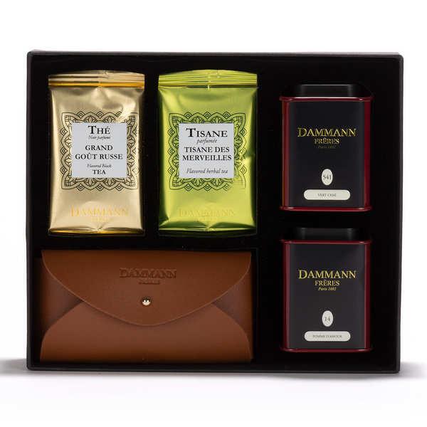 Dammann frères Coffret thé collection invitation - Excursion - 2 boîtes de thés, 2x4 sachets et 1 pochette porte sac