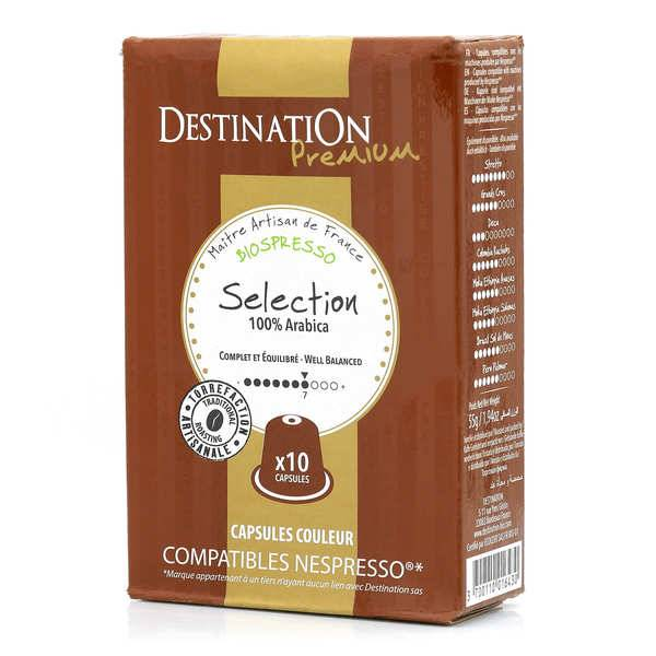 Origines Tea and Coffee Café Sélection bio - capsules biodégradables compatibles Nespresso® - Force 7/10 - Boîte 10 capsules
