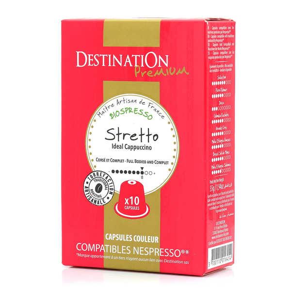 Origines Tea and Coffee Café Stretto bio, capsules compatibles Nespresso® - Force 8/10 - Boîte 10 caspules