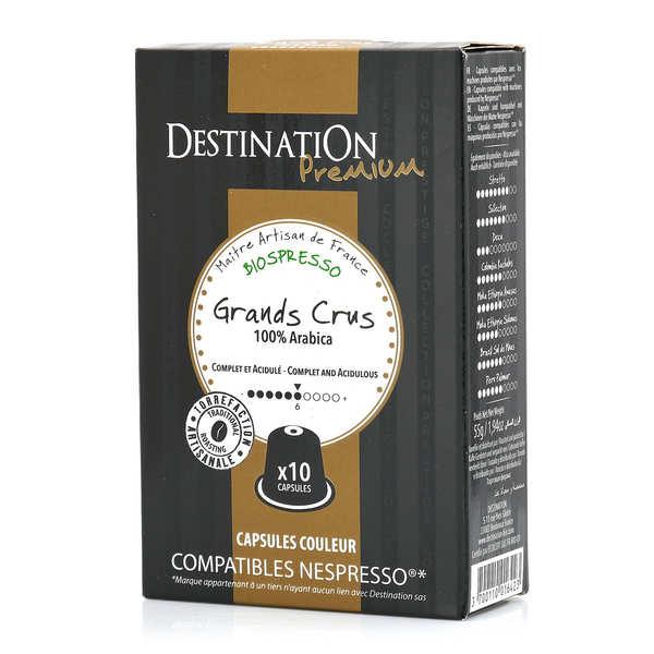 Origines Tea and Coffee Café Grands crus bio - capsules biodégradables compatibles Nespresso® - Force 7/10 - Boîte 10 capsules
