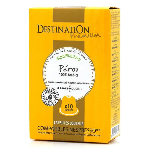 Origines Tea and Coffee Café Peru pur arabica Bio - capsules biodégradables compatibles Nespresso® - Force 7/10 - Boîte 10 capsules