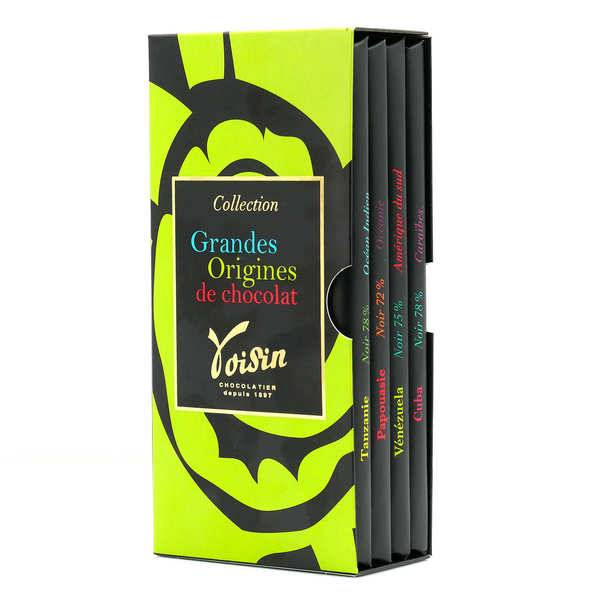 Voisin chocolatier torréfacteur Etui 4 tablettes grande origine - Voisin - Etui 4 tablettes de 100g