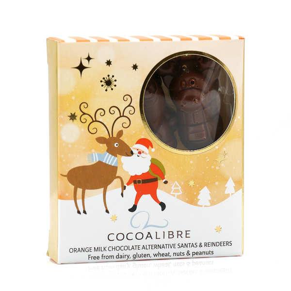 CocoaLibre Rennes et Pères Noël chocolat au lait à l'orange sans gluten sans lactose - Etui 60g