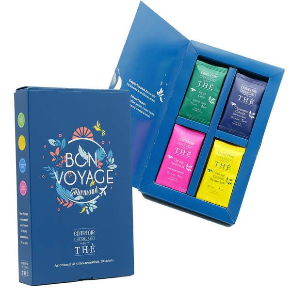 Comptoir Français du Thé Coffret dégustation thé Bon Voyage - Coffret 20 sachets, 4 parfums