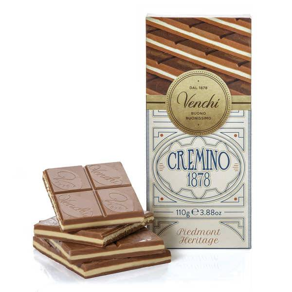 Venchi Tablette chocolat blanc et Gianduja -  Cremino 1878 - Lot de 6 tablettes