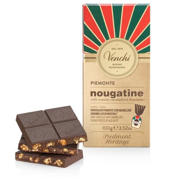 Venchi Tablette nougatine - chocolat noir avec noisettes caramélisées - Tablette 100g