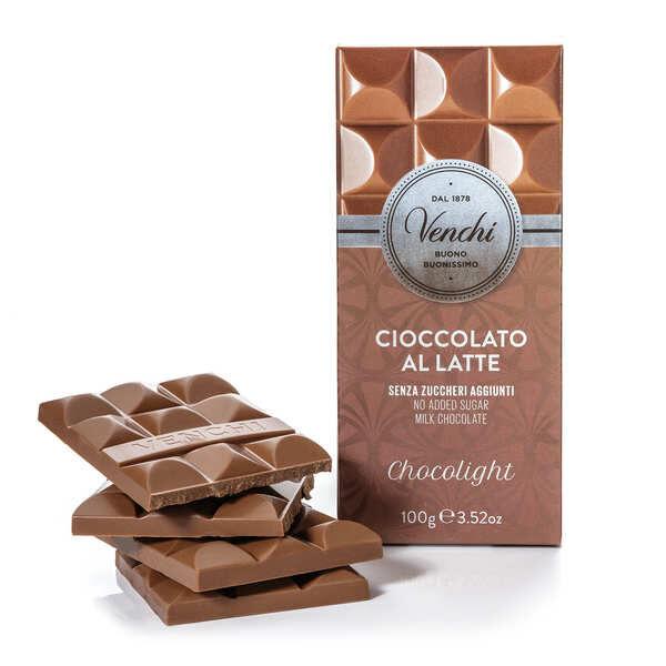 Venchi Tablette chocolat au lait chocolight - sans sucres ajoutés - Tablette 100g