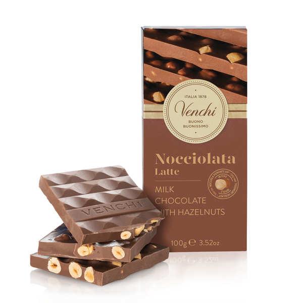 Venchi Tablette chocolat au lait avec noisettes chocolight - sans sucres ajoutés - Tablette 100g