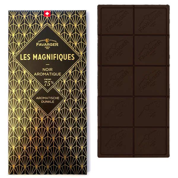Favarger Tablette de chocolat suisse noir 75% - Les Magnifiques - Tablette 100g