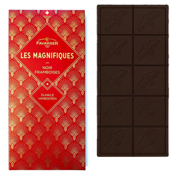 Favarger Tablette chocolat noir et framboise - Les Magnifiques - Tablette 100g