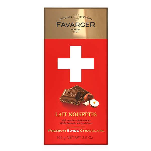 Favarger Tablette de chocolat suisse au lait et noisettes caramélisées - Tablette 100g
