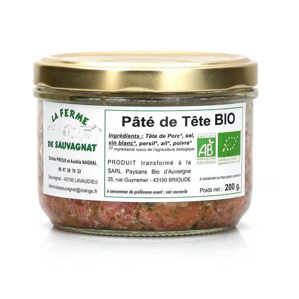La ferme de Sauvagnat Pâté de tête de porc bio d'Auvergne - sans nitrites - Pot 140g