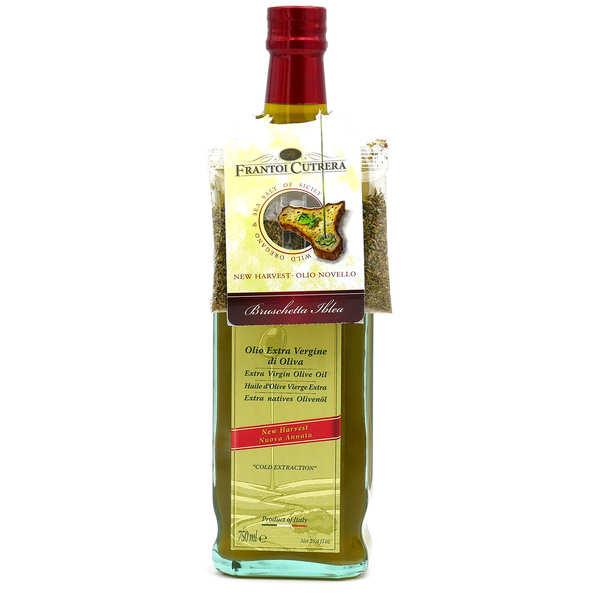 Frantoi Cutrera Huile d'olive italienne extra vierge Frescolio avec sachet d'origan - Bouteille 75cl