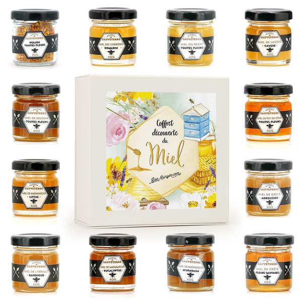 Maison Sauveterre Coffret dégustation 12 miels et pollen - Coffret 12x40g