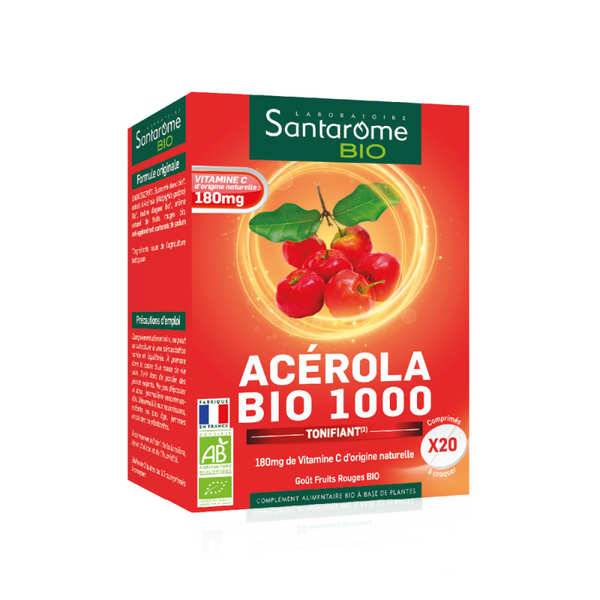 Santarome Bio Acérola bio 1000mg - comprimés à croquer - Boîte de 2 tubes de 10 comprimés à croquer