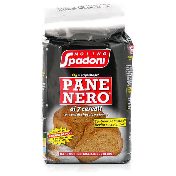 Molino Spadoni Farine pour pain noir aux 7 céréales aux graines de tournesol et de sésame - lot de 3 sachets 1kg