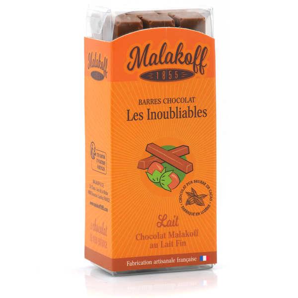 Malakoff & Cie Barres de chocolat Malakoff 1855 au lait noisettes sans emballage individuel - Règlette de 6 barres